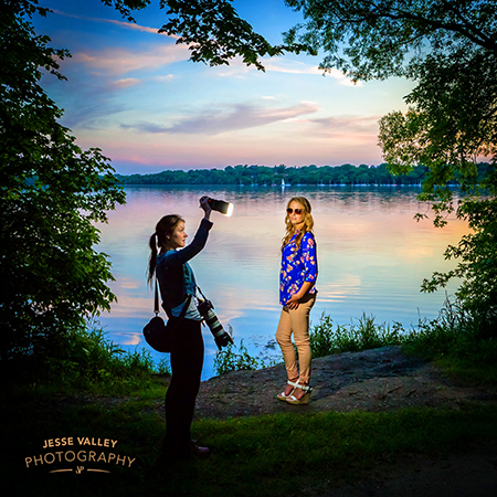 Taking senior pictures at Lake Harriet in Minneapolis